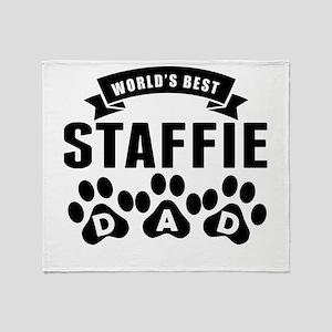 Worlds Best Staffie Dad Throw Blanket