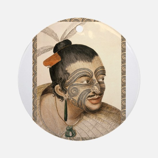 Maori Warrior with Tribal Tattoo Ornament (Round)