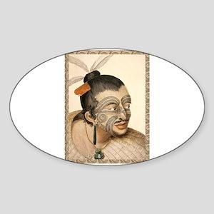 Maori Warrior with Tribal Tattoo Sticker