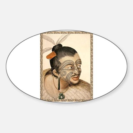 Maori Warrior with Tribal Tattoo Decal