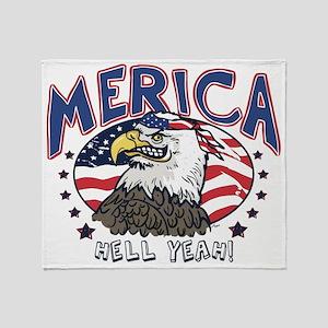 Merica, Hell Yeah Patriotic Bald Throw Blanket