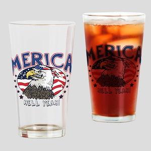 Merica, Hell Yeah Patriotic Bald Eagle Drinking Gl