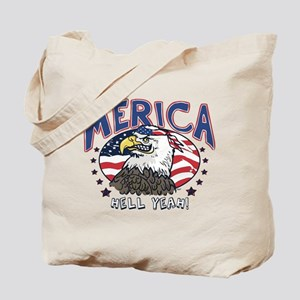 Merica, Hell Yeah Patriotic Bald Eagle Tote Bag