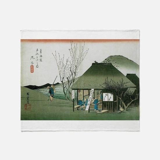 Famous Teahouse at Mariko by Hiroshi Throw Blanket