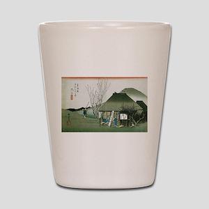 Famous Teahouse at Mariko by Hiroshige Shot Glass