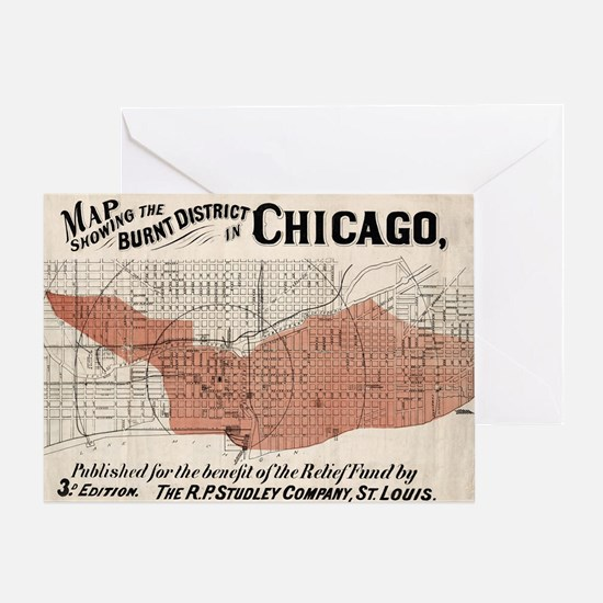 Chicago Map from 1871 after fire Res Greeting Card
