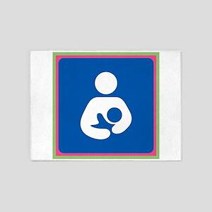 Brestfeeding Icon 5'x7'Area Rug