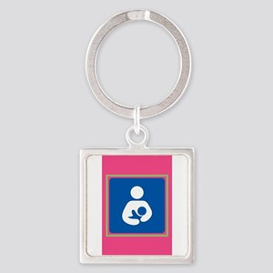 Breastfeeding symbol 7b14 pink green Keychains