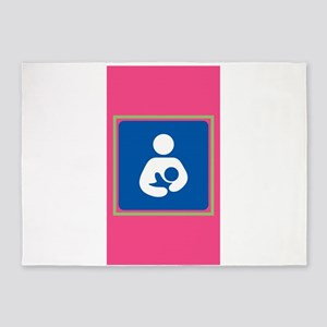 Breastfeeding symbol 7b14 pink gree 5'x7'Area Rug