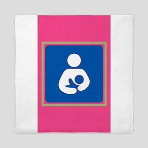 Breastfeeding symbol 7b14 pink green Queen Duvet