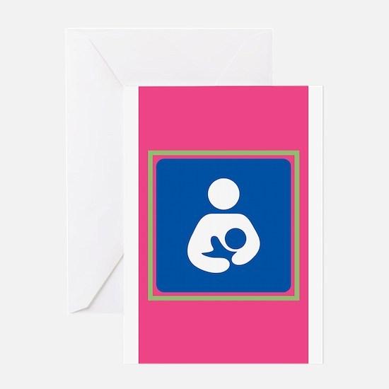 Breastfeeding symbol 7b14 pink gree Greeting Cards