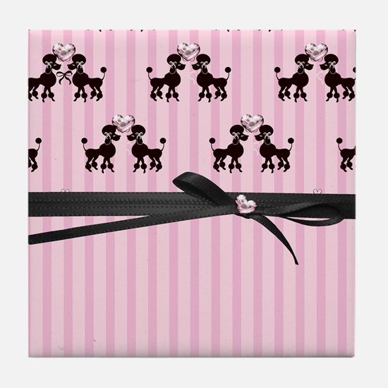 Poodles And Pink Hearts Tile Coaster