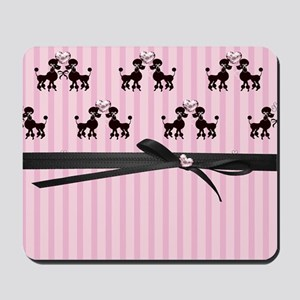 Poodles And Pink Hearts Mousepad