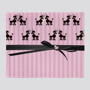Poodles And Pink Hearts Throw Blanket