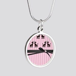 Poodles And Pink Hearts Silver Round Necklace