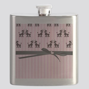 Poodles And Pink Hearts Flask