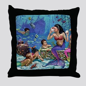 Mermaid And Her Children Throw Pillow