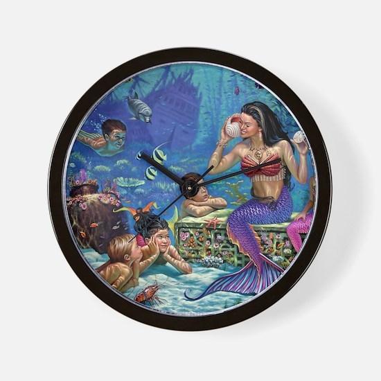 Mermaid And Her Children Wall Clock
