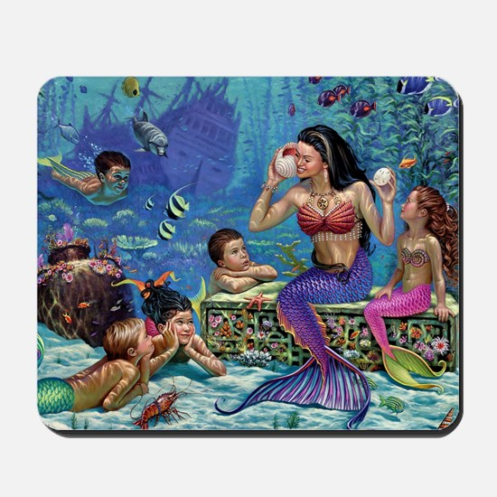 Mermaid And Her Children Mousepad