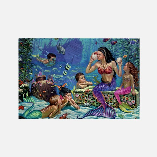 Mermaid And Her Children Magnets