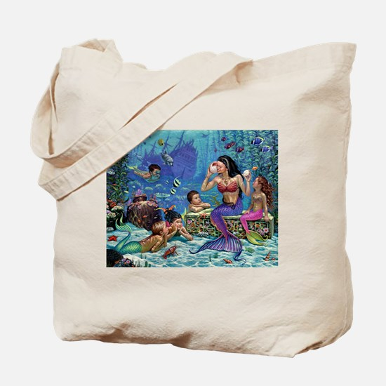 Mermaid And Her Children Tote Bag