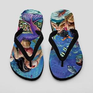 Mermaid And Her Children Flip Flops