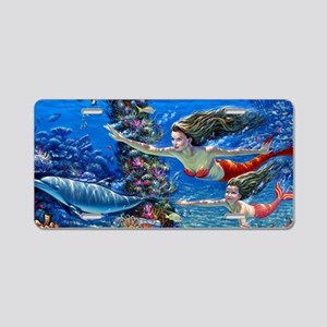 Mermaid And Her Daughter Swimming Aluminum License