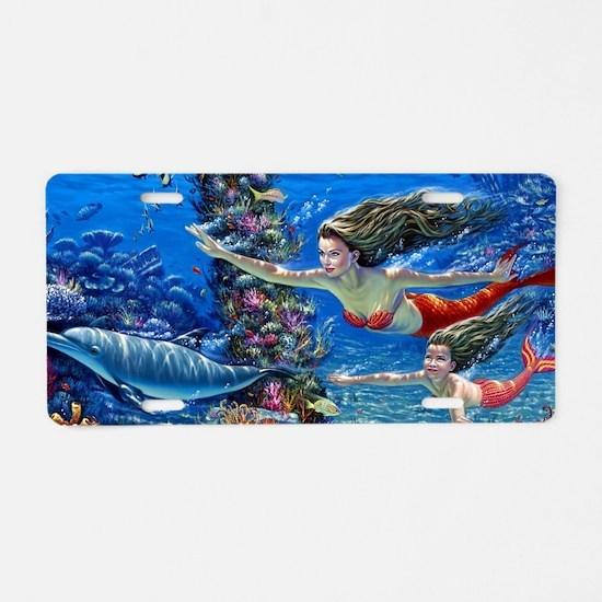 Mermaid And Her Daughter Swimming Aluminum License