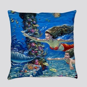 Mermaid And Her Daughter Swimming Everyday Pillow