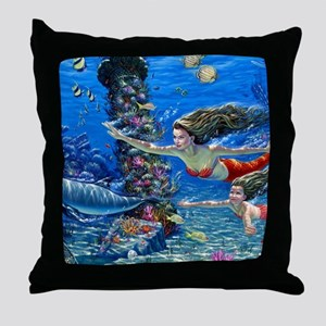 Mermaid And Her Daughter Swimming Throw Pillow