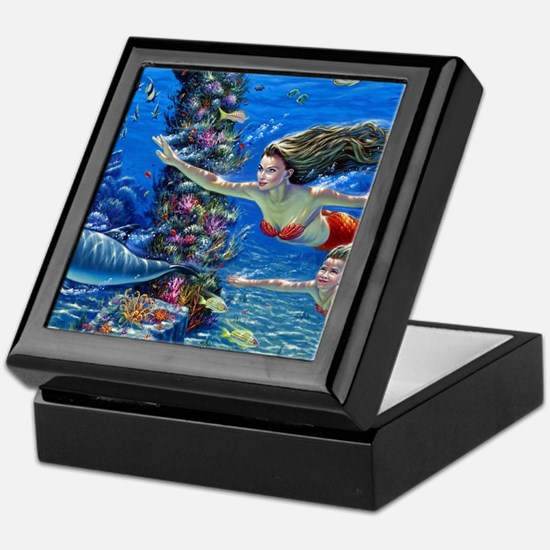Mermaid And Her Daughter Swimming Keepsake Box