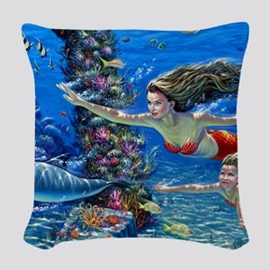 Mermaid And Her Daughter Swimming Woven Throw Pill
