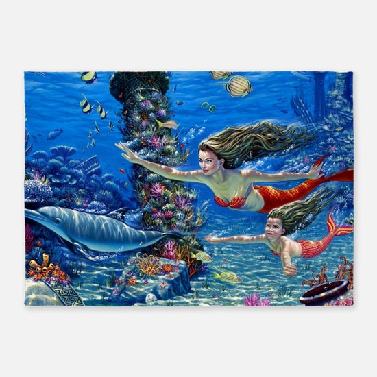 Mermaid And Her Daughter Swimming 5'x7'Area Rug