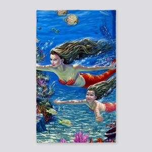 Mermaid And Her Daughter Swimming Area Rug