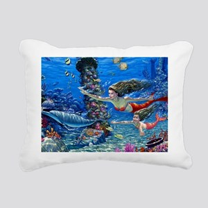 Mermaid And Her Daughter Swimming Rectangular Canv
