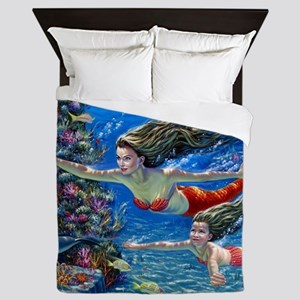 Mermaid And Her Daughter Swimming Queen Duvet
