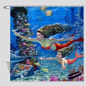 Mermaid And Her Daughter Swimming Shower Curtain