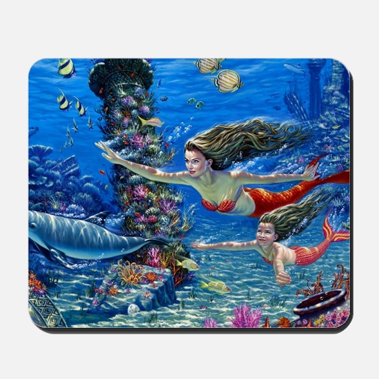 Mermaid And Her Daughter Swimming Mousepad