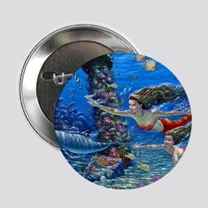 """Mermaid And Her Daughter Swimming 2.25"""" Button (10"""