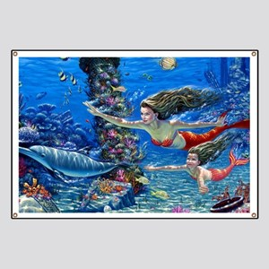 Mermaid And Her Daughter Swimming Banner