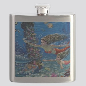 Mermaid And Her Daughter Swimming Flask