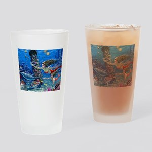 Mermaid And Her Daughter Swimming Drinking Glass