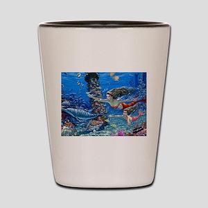Mermaid And Her Daughter Swimming Shot Glass