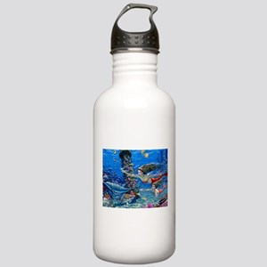 Mermaid And Her Daughter Swimming Water Bottle