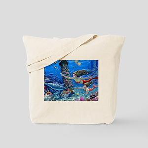 Mermaid And Her Daughter Swimming Tote Bag