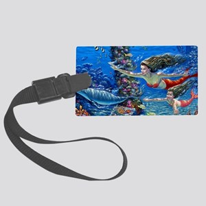 Mermaid And Her Daughter Swimming Luggage Tag