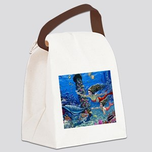 Mermaid And Her Daughter Swimming Canvas Lunch Bag