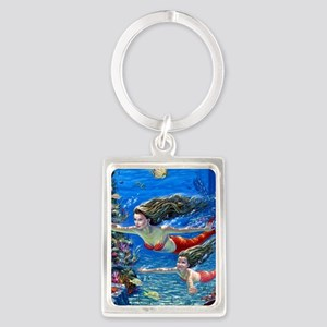 Mermaid And Her Daughter Swimming Keychains
