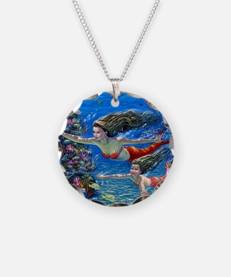 Mermaid And Her Daughter Swimming Necklace