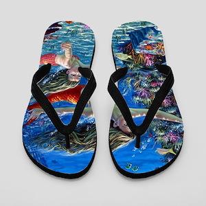 Mermaid And Her Daughter Swimming Flip Flops